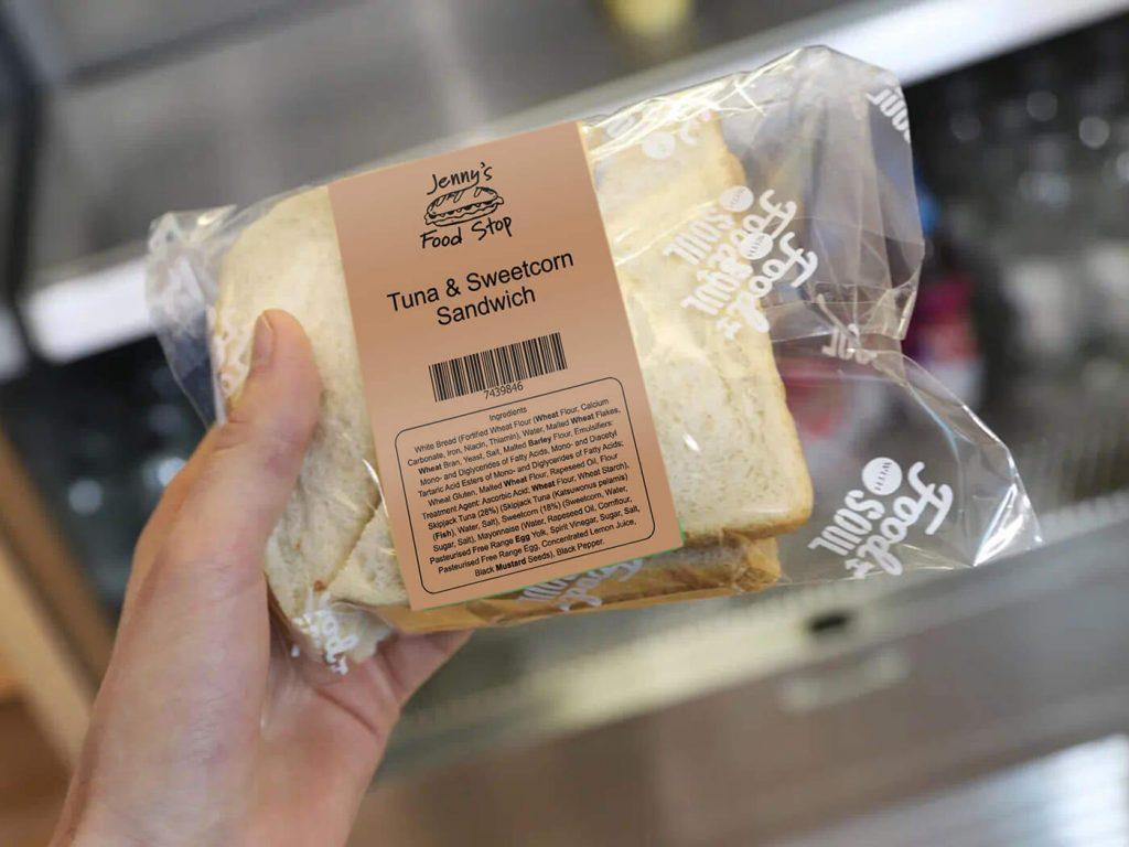 Kraft brown printed label on PPDS food