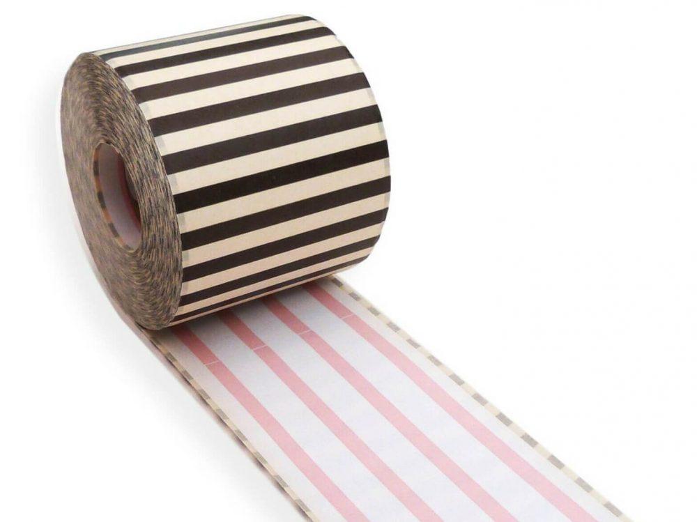 Pink stripe 62mm x 30m continuous label