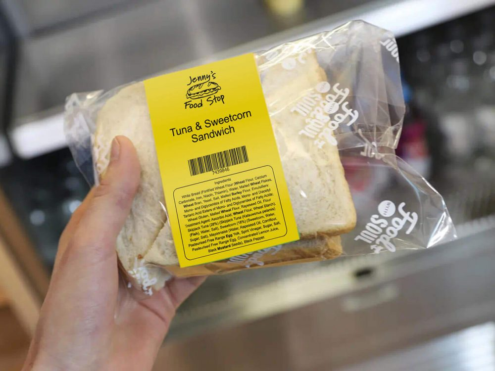 Yellow printed label on PPDS food